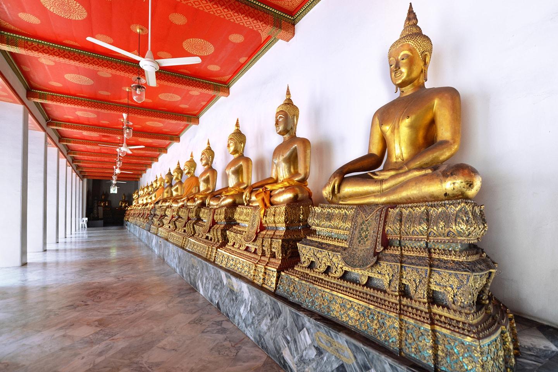 Buddhas d'or, Temple Wat Suthat - Bangkok