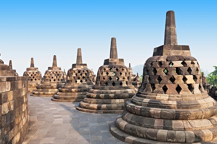 Le temple Borobudur à Java en Indonésie